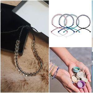 New Ocean Glass Bead & Cord Bracelet (Black)Unisex
